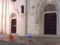 L'area del sagrato di San Cetteo, interessata dai lavori di messa in sicurezza