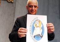 Monsignor Rino Fisichella, presenta il logo ufficiale del Giubileo della misericordia