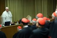 Papa Francesco nel suo discorso conclusivo, davanti ai 270 padri sinodali