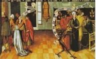 «L'ottavo comandamento: Non dire falsa testimonianza» «Non dire falsa testimonianza» è l'ottavo comandamento ricordato sia sul bordo superio-re sia dall'angelo, raffigurato di spalle davanti ad alcune persone sullo sfondo di un palazzo, forse un tribunale. Nella parte in cui si descrive la violazione del comandamento, si ha al centro una donna che è posta davanti a un giudice assiso ed è accompagnata da due accusatori. Forse si fa riferimento all'episodio biblico di Susanna e dei due vecchi (Daniele 13). Il diavolo allusivamente li invita forse a preoccuparsi del loro vantaggio, senza tener conto della giustizia (il testo del cartiglio diabolico non è del tutto perspicuo).