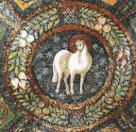 Mosaico Agnello, meta del IV secolo. Basilica di San Vitale, Ravenna.