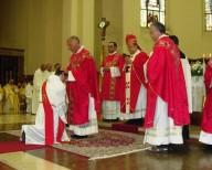 I sacerdoti concelebranti impongono le mani su don Luca