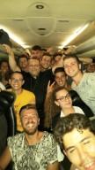 i giovani pescaresi con l'arcivescovo Valentinetti, durante il viaggio verso Cracovia