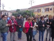 Il flash-mob, con la lettura del Vangelo delle Beatitudini