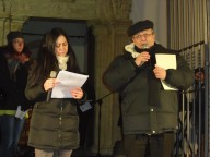 Luigina Tartaglia con l'arcivescovo Valentinetti introducono la Marcia per la pace