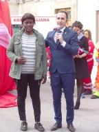 Nabu insieme al presidente del Comitato locale Cri Fabio Nieddu